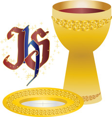 Chalice and host, bread and wine. Symbols of Eucharist. First communion.