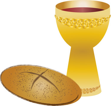 Eucharist symbols of bread and wine, chalice and host FIrst communion christian color vector illustration.
