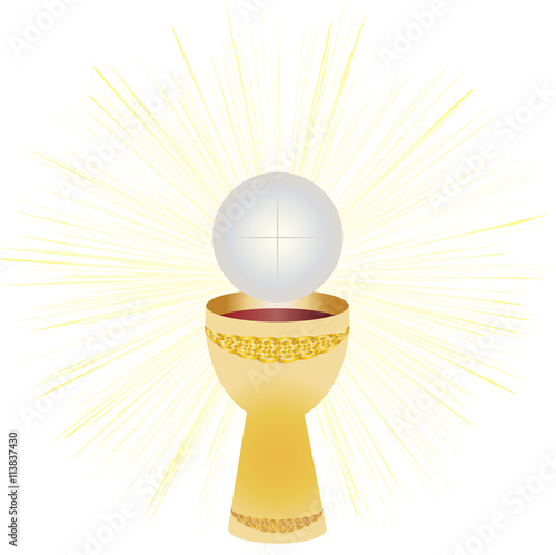 """Chalice and host, bread and wine. Symbols of Eucharist ..."