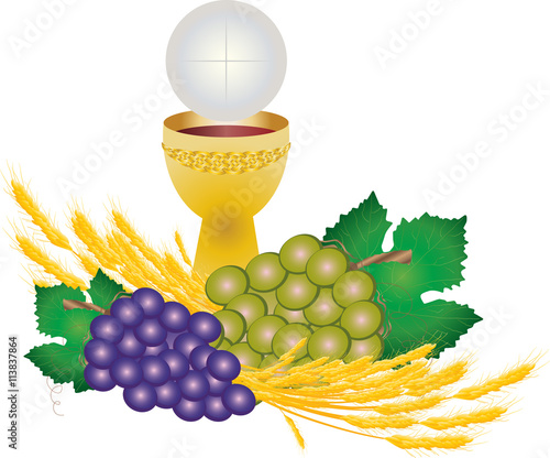 Chalice And Host Bread And Wine With Grape Clusters And Wheat Ears