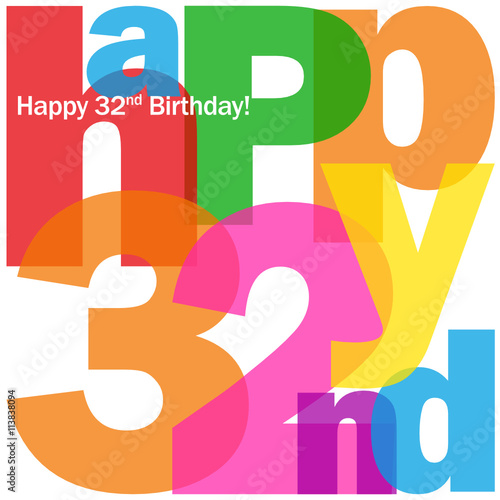 """HAPPY 32nd BIRTHDAY Vector Card"" Stockfotos Und"