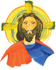 Icon of Jesus Christ, bytantine style. Digital watercolor illustration.
