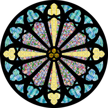 Gothic rosette, church stained glass window.