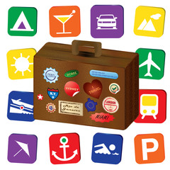A world traveler retro vintage brown leather suitcase, with world stickers and stamps, isolated over a white background, with travel holiday icons
