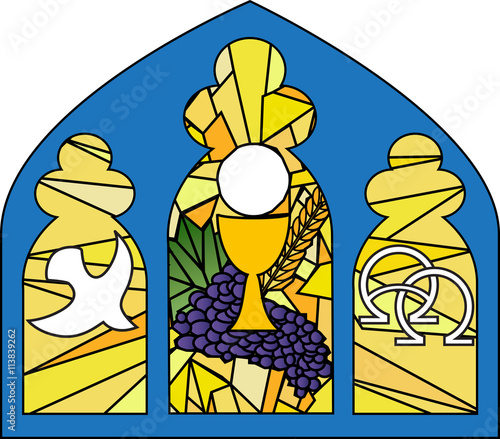 Eucharist Symbols Of Bread And Wine Chalice And Host With Wheat