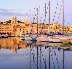 Wall Mural - Yachts in the Old Port of Marseilles, France