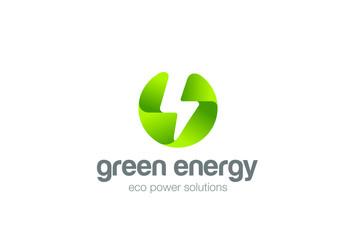 Green Eco Energy Flash Logo circle electricity Ecology Power