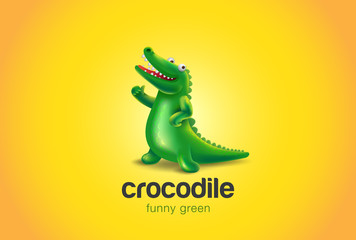 Crocodile Logo abstract funny design vector Alligator fun icon
