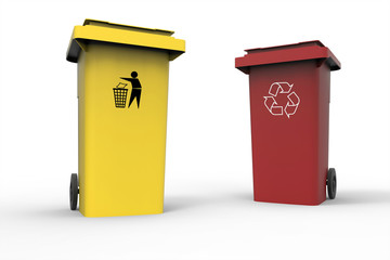 Two Recycle bins isolated on white background