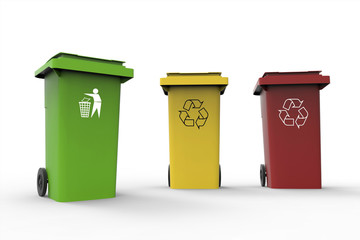 Three Recycle bins isolated Background