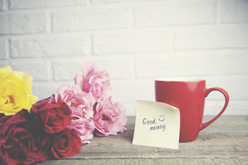 roses,coffee and good morning