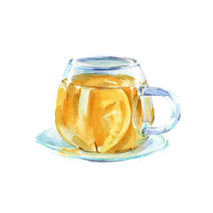 cup of green tea. isolated. watercolor illustration