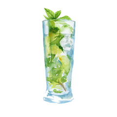 cocktail with fruit and mint. isolated. watercolor illustration