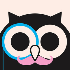 Flat owl in eyeglasses, funny owl minimalistic picture, illustration for children, vector art