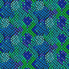 Snake skin seamless vector texture. Blue and green tone colors snake pattern ornament for textile fabric. Artificial reptile leather pattern.