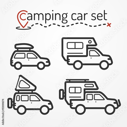 Set Of Camping Car Icons Travel Car Symbols In Silhouette Line