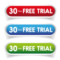 30 days free Trial vector button