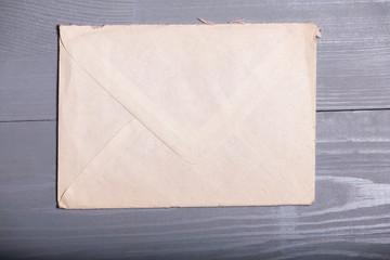 Old vintage elegant business pen letter sheet grey wooden backgr