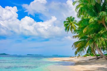 Sand beach on remote tropical island