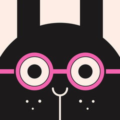 Bunny in the  pink eyeglasses, funny rabbit picture, illustration for children, vector art