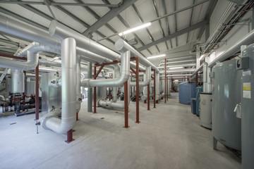 Boiler room. Piping system. Boiler units..