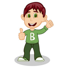 Boy gives thumbs up wearing green long sleeve sweater and dark green trousers cartoon