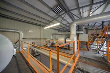 Modern boiler plant top view.