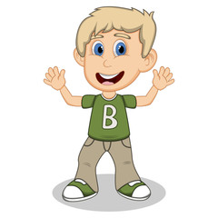 Little boy with green shirt and gray trousers waving his hand cartoon
