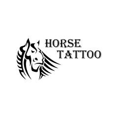 Tribal horse head tattoo with heavy draft stallion
