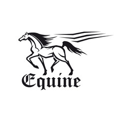 Equestrian sporting symbol of running racehorse