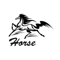 Equestrian riding club symbol with running horse