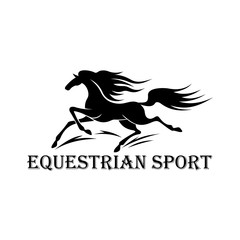 Horse racing symbol with running wild mustang