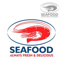 Wild atlantic prawn red icon in blue oval frame