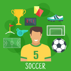 Soccer or football game sporting icon, flat style