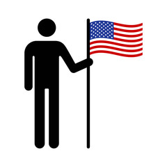 Man, person or patriot holding the American flat flat icon for apps and websites