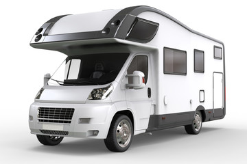 White camper vehicle - studio lighting closeup shot - isolated on white background
