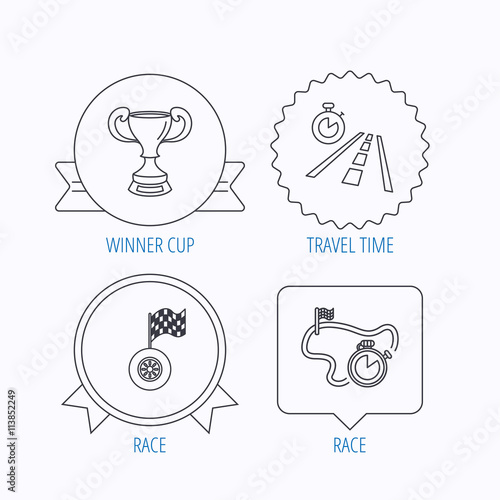 Winner Cup Race Timer And Flag Icons Stock Image And Royalty Free