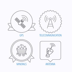 Telecommunication, minerals and antenna icons.