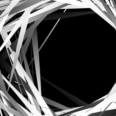 Geometric overlapping - intersecting shapes. Abstract grayscale