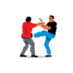 Vector Wing Chun kung fu sparring Cartoon Illustration.