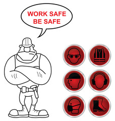 Red Health and Safety icons and builder