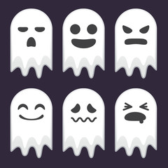 Collection of Cute Ghost With Different Face Expression