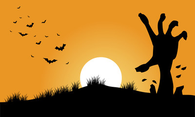Hand zombie and bat halloween backgrounds