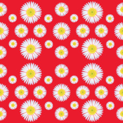 Seamless pattern of floral on red background