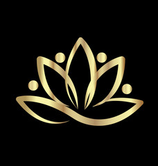 Gold lotus team yoga logo
