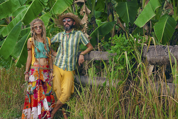 hippie couple on the countryside