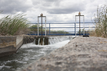 Floodgate area at huge irrigation canal, Extremadura, Spain