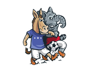 USA Democrat Vs Republican Election Match Cartoon - Political Soccer Competition