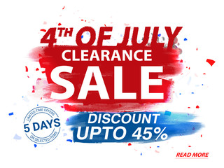 4th of July, Clearance Sale Poster, Banner or Flyer.