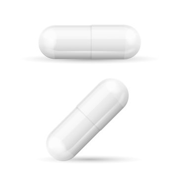 White Template Pills Capsules. Vector